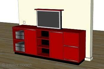 bücherwand fernseher rubinroter medienkubus interior coach 183 brigitte