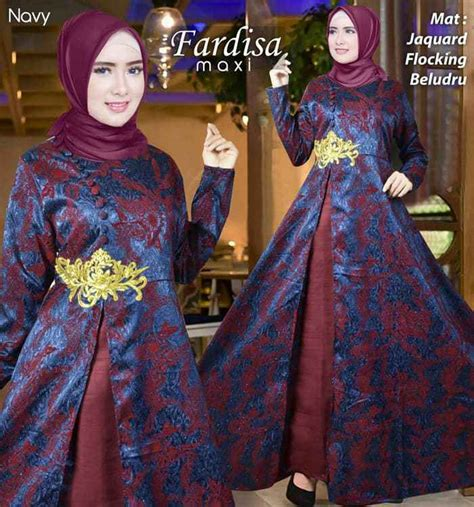 Dress Flocking Bahan Jaguard gamis pesta bludru terbaru fardisa navy model baju gamis