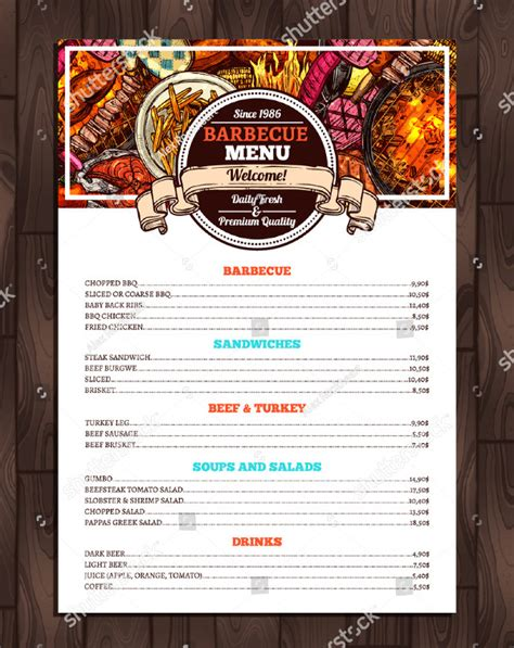 22 Printable Bbq Menu Templates Free Premium Download Bbq Menu Template