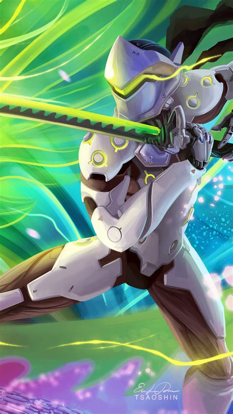 wallpaper overwatch genji fan art hd games