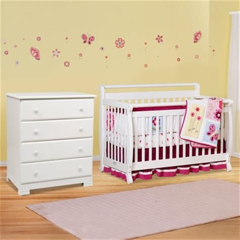 Davinci Emily 4 In 1 Convertible Crib White by Davinci 2 Nursery Set Emily 4 In 1 Convertible Crib And Kalani 4 Drawer Dresser In White