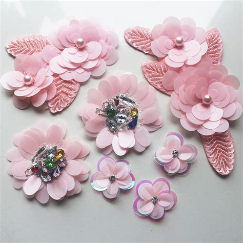 Patch Bunga 3d Pink pink sequin flower cloth stick bead set