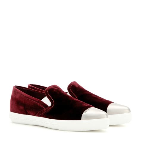velvet sneakers miu miu velvet slip on sneakers in lyst