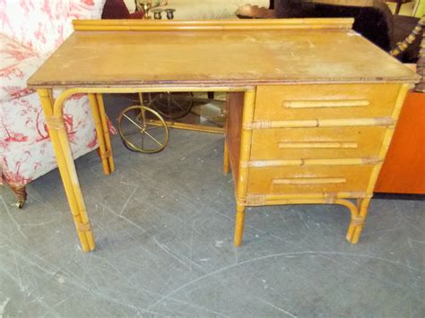 vintage tropical lake cabin style bamboo and wood desk