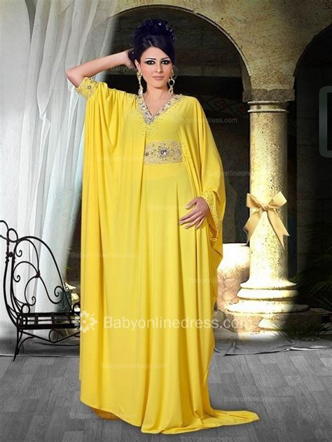 New Lace Sifon asymmetric yellow v neck evening dresses 2018 a line