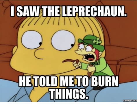 Leprechaun Meme - isaw the leprechaun hetoldme to burn things memes