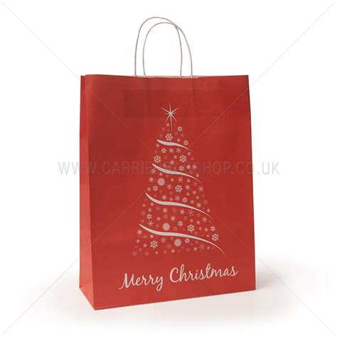 christmas paper bags red christmas tree design carrier