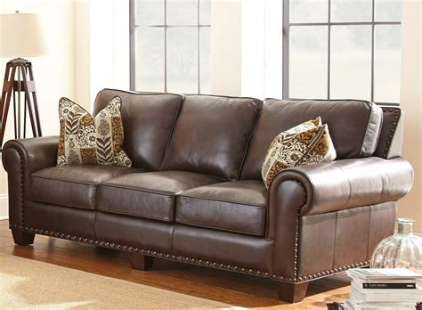 Escher Top Grain Leather Sofa With 2 Accent Pillows From Leather Sofa Pillows