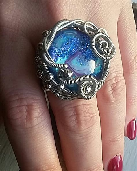 Wire Wrapped Marbled Glass Stone Ring ? Jewelry Making Journal