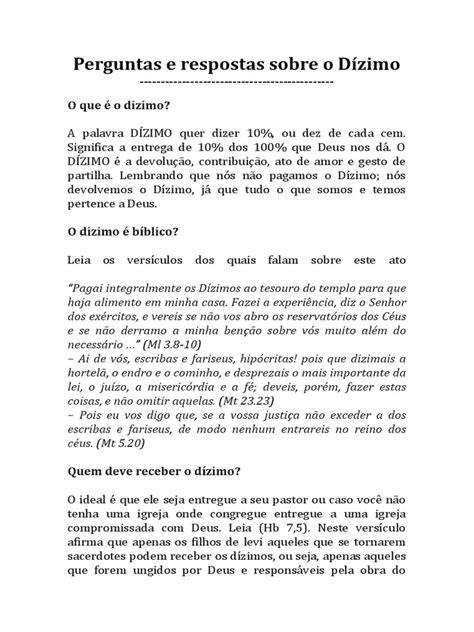 ARTIGO Perguntas e respostas sobre o Dízimo.pdf | Dízimo