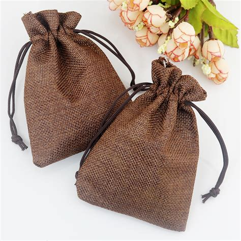 Handmade Jute Bags - 100pcs lot coffee 13x18cm handmade jute drawstring pouch