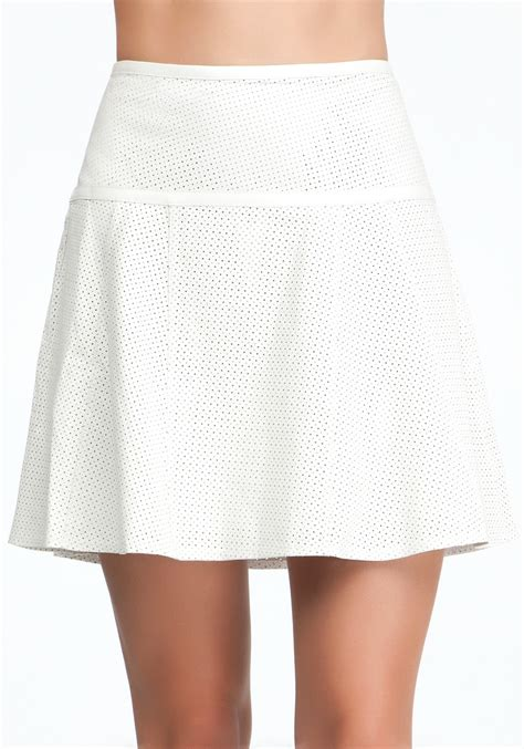 bebe perforated leather flounce skirt in white lyst