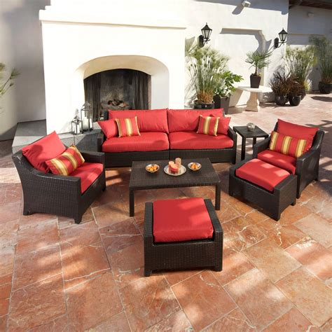 Patio Furniture Conversation Sets Rst Outdoor Cantina 8 Sofa With Club Chair And Ottomans Set Conversation Patio Sets At