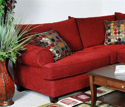 red fabric sofa red fabric contemporary sectional sofa w rolled arms