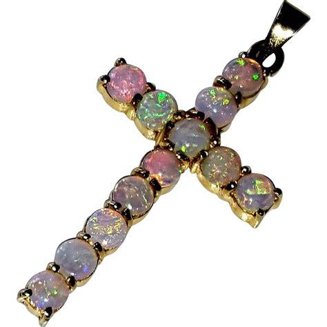 vintage 14k opal cabochon cross pendant for necklace from