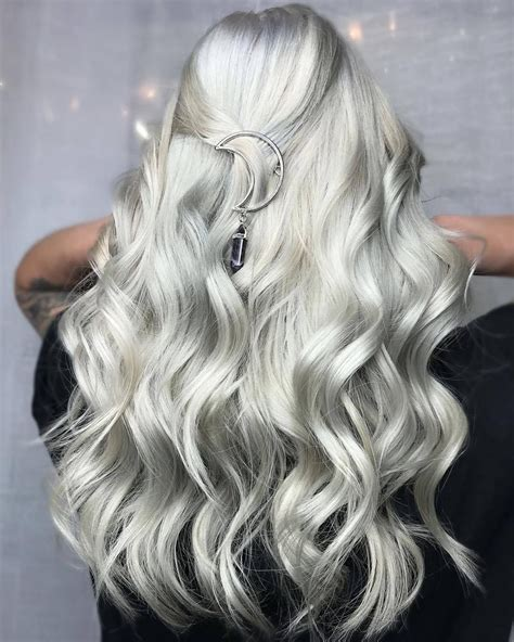 platinum silver hair color platinum silver hair color with moon hair accessory try