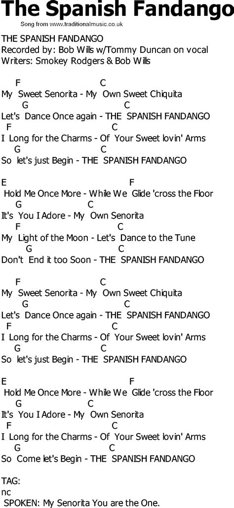 song in spanish old country song lyrics with chords the spanish fandango