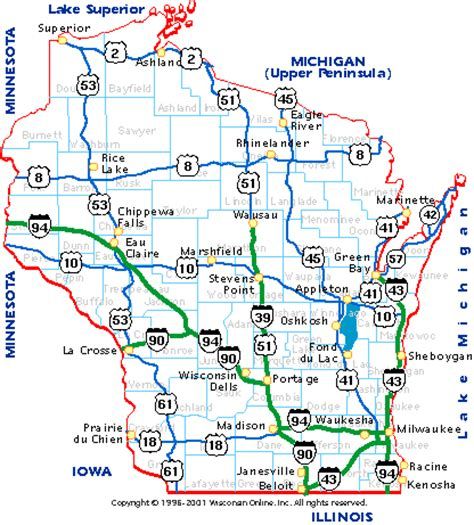 counties map with highways wisconsin maps