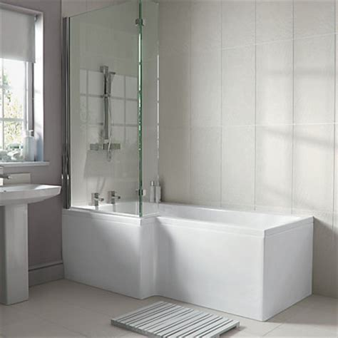 homebase bathroom ideas emberton new l shaped shower bath front panel white at