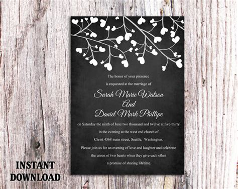 diy chalkboard sign template diy wedding invitation template editable word file instant