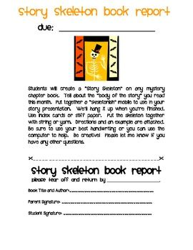 story skeleton book report october book report story skeleton by ms third grade tpt