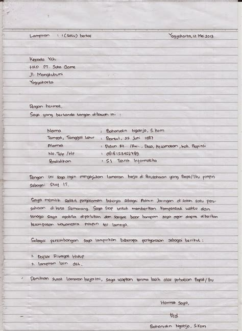 contoh surat lamaran pekerjaan tulis tangan ben