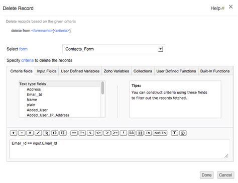 Delete Records Delete Records Task Help Zoho Creator