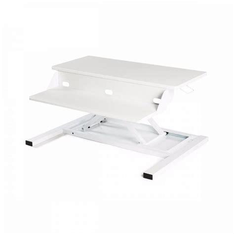 sleek white office desk sleek white desk riser w pneumatic lift officedesk com