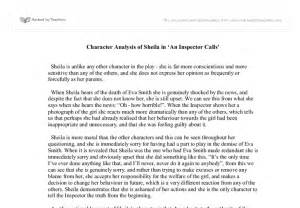Character Analysis Essay by Character Analysis Of In An Inspector Calls