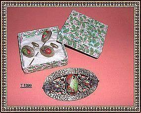 1910 Nta Set Foil vintage deco cufflinks stick pin set eod foil glass item 459968