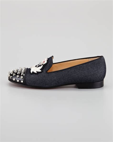 christian louboutin spiked loafers christian louboutin intern spiked captoe denim sole