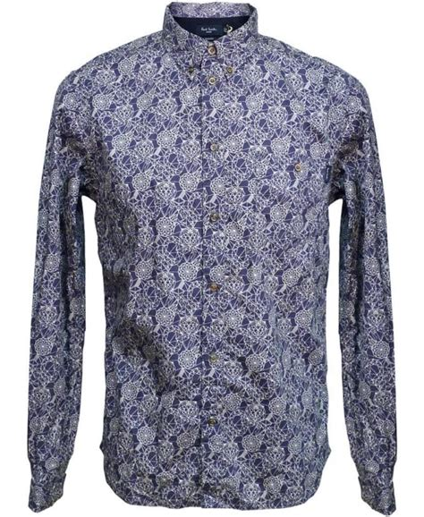 Abstract Pattern Shirts | paul smith indigo abstract pattern shirt jkfj 054n 719
