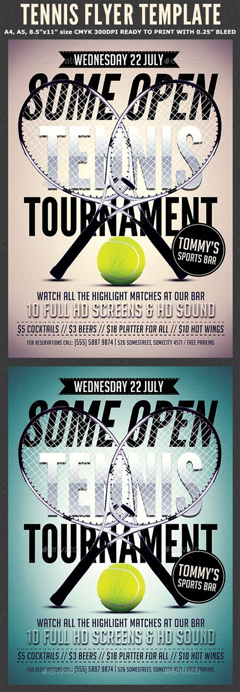 Tennis Flyer Template 2 By Hotpin Graphicriver Tournament Flyer Template