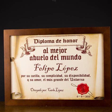 mensaje de cuadro de honor certificado diploma pergamino al mejor abuelo