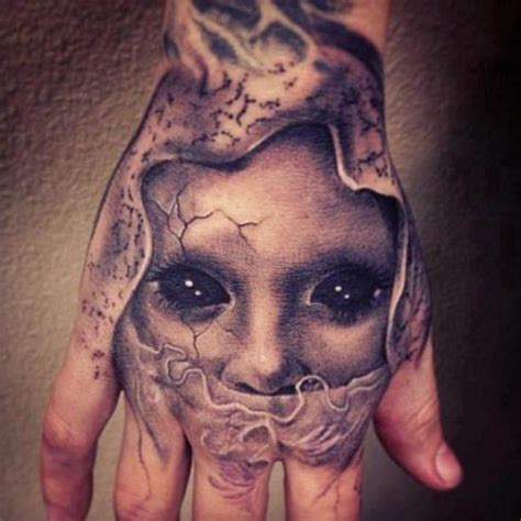 scary face tattoo designs black and grey horror on