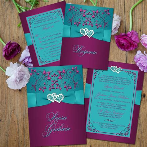 teal wedding invitations 12 exclusive purple and teal wedding invitations only for