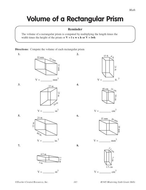 printable math worksheets volume of triangular prism 12 best images of rectangular prisms volume worksheets 5th
