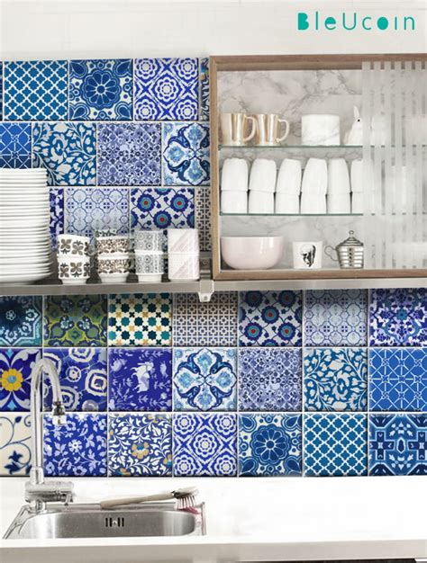 kitchen bathroom indian jaipur blue pottery tile wall decals