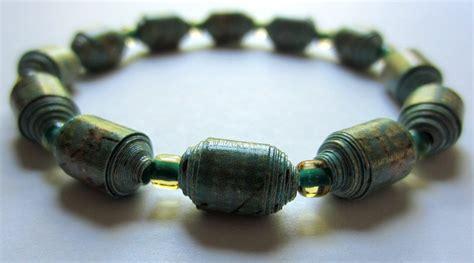 paper bead bracelets for sale royal teal script texture paper bead bracelet by