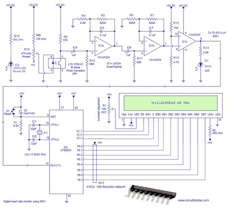 microcontroller based projects with circuit diagram microcontroller based heartbeat monitor circuit diagram