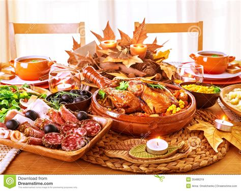 traditional dinner festive thanksgiving day dinner royalty free stock images