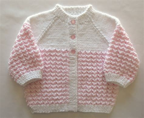 Handmade Knitted - pink baby sweater set handmade knit by sticksnstonesgifts