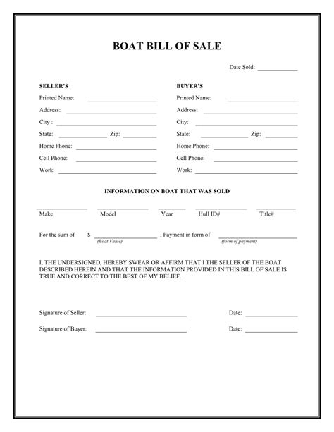 Free Boat Bill Of Sale Form Download Pdf Word Bill Of Sale Louisiana Template