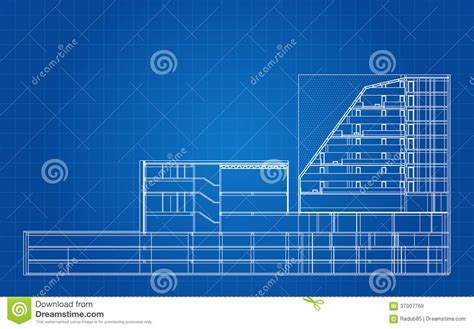 modern hotel building architectural blueprint royalty