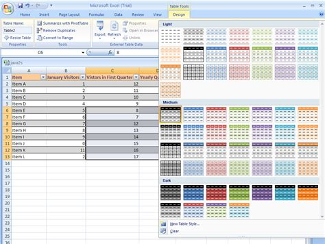 format excel as table remove or clear a table style table format 171 table