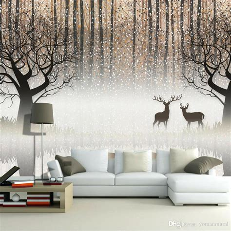 wall painting designs for hall wall mural vintage nostalgic dark forest elk 3d tv