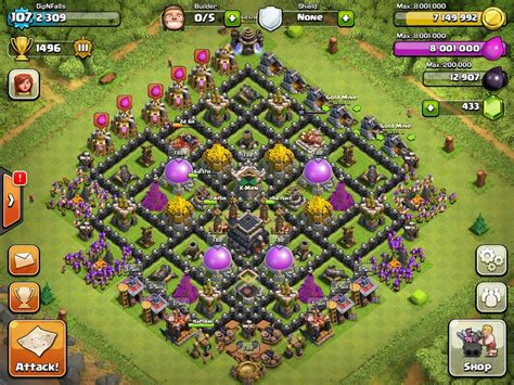 clash of clan th 9 war base top 10 clash of clans town hall level 9 defense base design