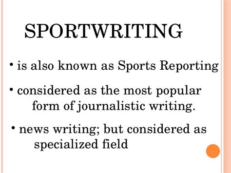 pattern in writing sports news sports writing