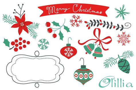 christmas decorative elements illustrations on creative