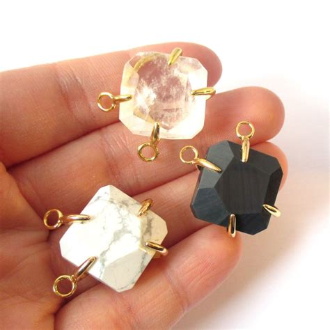 faceted octagon gemstone connector pendant black agate